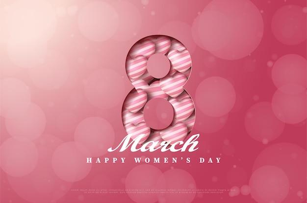 Día de la mujer con ilustración de figura cortada y lleno de globos de amor.