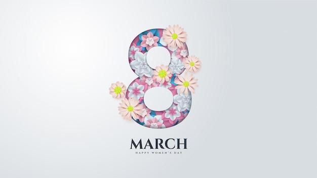 Día de la mujer con la ilustración número 8 con flores a continuación.