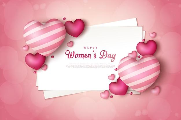 Día de la mujer con una ilustración de números decorada con globos de amor en medio de papel blanco.