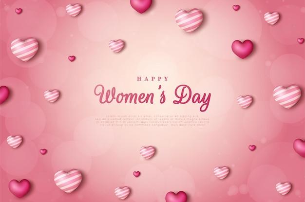 Día de la mujer con las ilustraciones de globos de amor dispersos.
