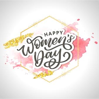 Día de la mujer letras tipográficas, textura de acuarela, marco.
