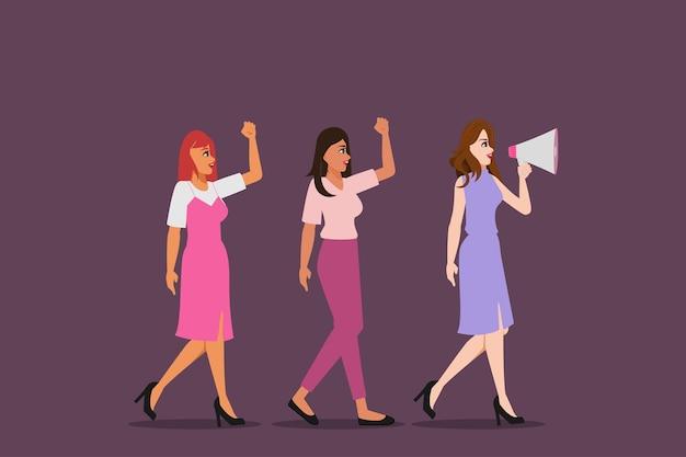 Día de la mujer lucha internacional por las niñas personajes de las mujeres jóvenes