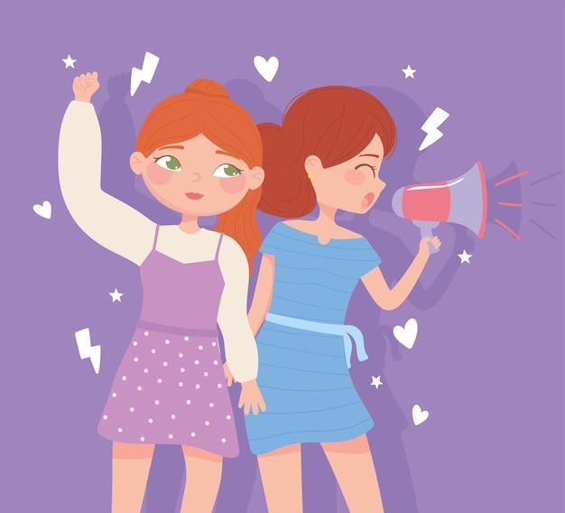 Día de la mujer, movimiento de mujeres jóvenes, ilustración de igualdad social y de derechos