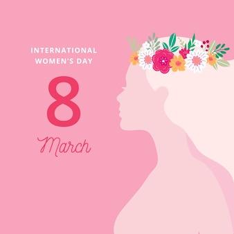Día de la mujer con mujer con corona de flores