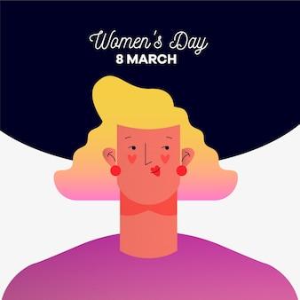 Día de la mujer con mujer y fecha.