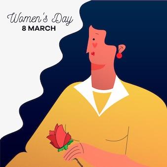 Día de la mujer con mujer sosteniendo rosa