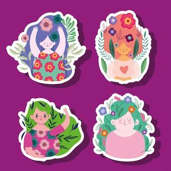 Día de la mujer, mujeres con flores en el cabello, pegatinas de dibujos animados, ilustración