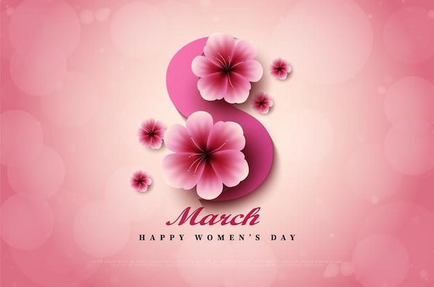Día de la mujer con números ilustrados cubiertos de flores.