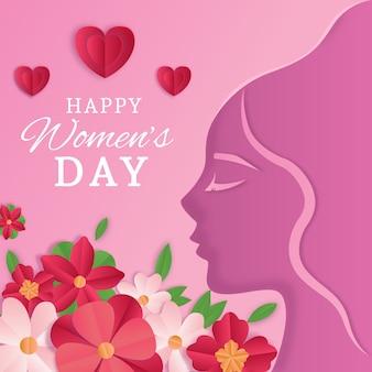 Día de la mujer en papel con corazones y flores.