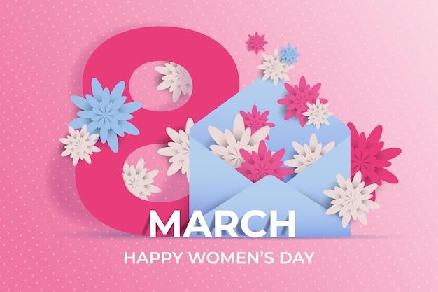 Día de la mujer en papel con flores.