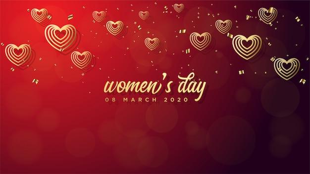 Día de la mujer s de líneas de amor de oro sobre un rojo.