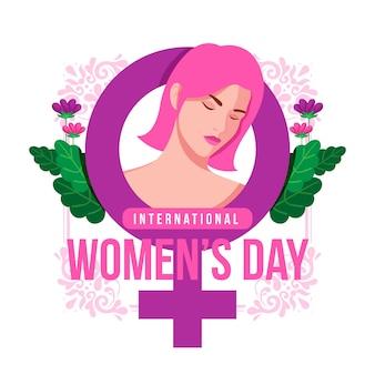 Día de la mujer con símbolo y flores.