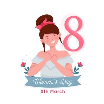 Día de la mujer sonriente mujer rodeada de flores