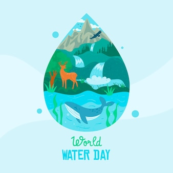 Día mundial del agua dibujado a mano con gota de agua y naturaleza.