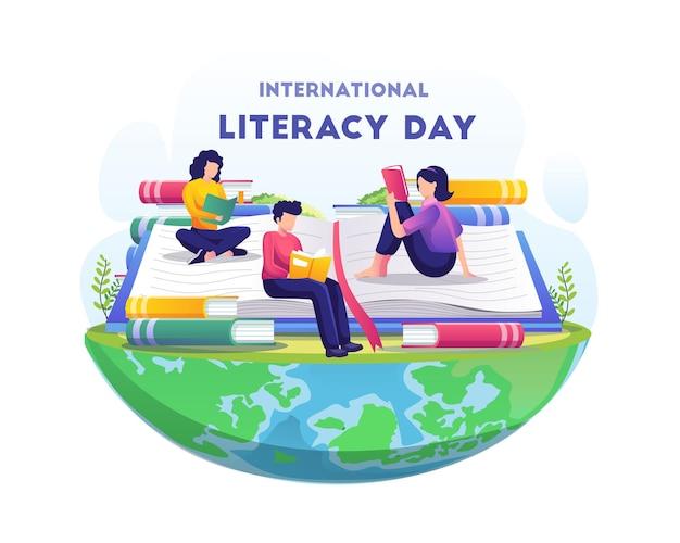 Día mundial de la alfabetización la gente celebra el día de la alfabetización leyendo una ilustración de libros