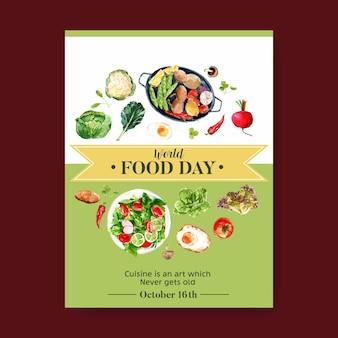 Día mundial de la alimentación cartel con coliflor, remolacha, ensalada, huevo frito acuarela ilustración.