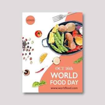 Día mundial de la alimentación cartel con guisantes, limón, patata, acuarela, ilustración.