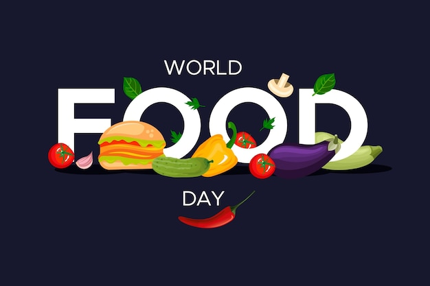 El día mundial de la alimentación celebra el diseño plano.