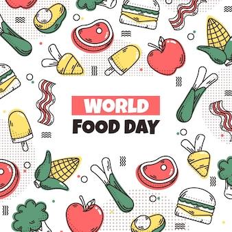 Día mundial de la alimentación celebrando ilustrado