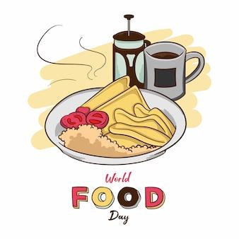 Día mundial de la alimentación con desayuno ilustración de vector dibujado a mano