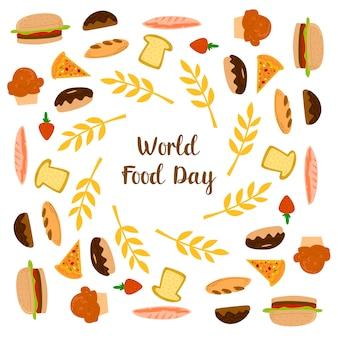 Día mundial de la alimentación con donut, pan y pizza elementos