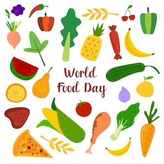 Día mundial de la alimentación con elementos coloridos de frutas, carnes y verduras