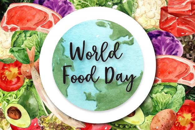 Día mundial de la alimentación marco con capelín, pock, tomate, aguacate ilustración acuarela.