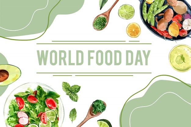 Día mundial de la alimentación marco con guisantes, aguacate, albahaca, pepino acuarela ilustración.