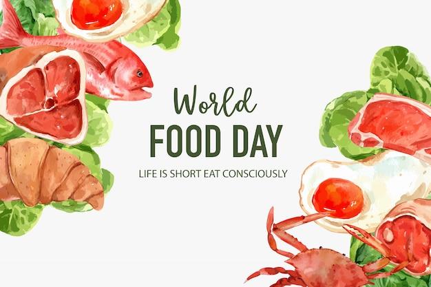 Día mundial de la alimentación marco con huevo frito, cangrejo, butterhead, croissant ilustración acuarela.