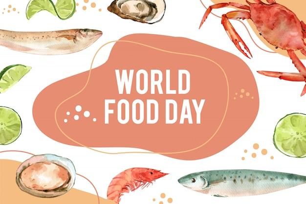 Día mundial de la alimentación marco con ilustración acuarela de capelán, ostras, cangrejo, camarones.