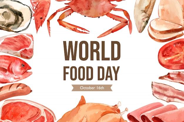 Día mundial de la alimentación marco con mariscos, carne, salchichas, filetes, jamón, acuarela, ilustración.