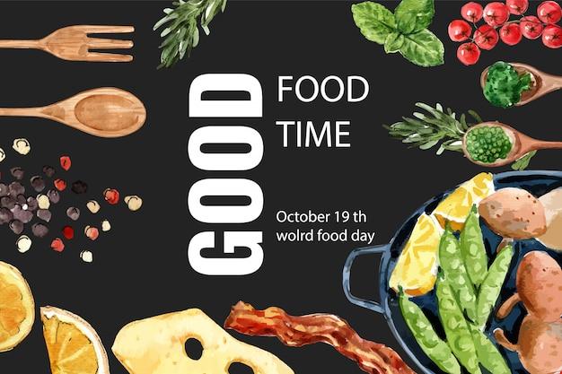 Día mundial de la alimentación marco con menta, guisantes, queso, tocino, ensalada ilustración acuarela.