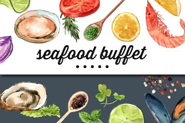 Día mundial de la alimentación marco con ostras, lima, camarones, ilustración acuarela de limón.