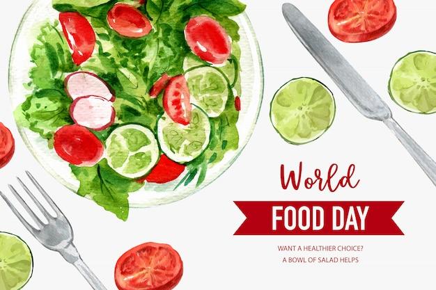 Día mundial de la alimentación marco con tomate, guisantes, lima, lechuga ilustración acuarela.