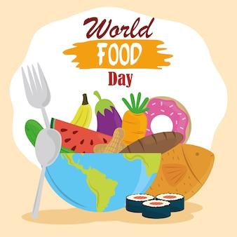 Día mundial de la alimentación, planeta completo con varios productos, tenedor y cuchara, estilo de vida saludable.