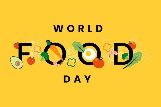 Día mundial de la alimentación sobre fondo amarillo