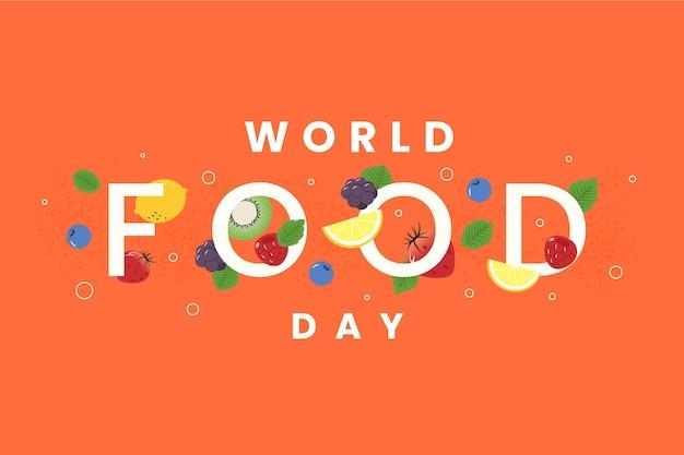 Día mundial de la alimentación sobre fondo naranja
