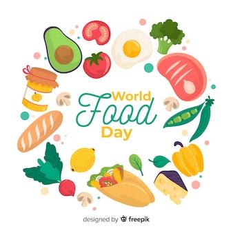 Día mundial de la alimentación con variedad de alimentos nutritivos.