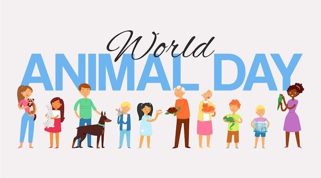 Día mundial de los animales, inscripción, pueblos y mascotas, letras mayúsculas, niña feliz, ilustración. concepto de cuidado y amistad entre hombres, mujeres y animales, querido amigo