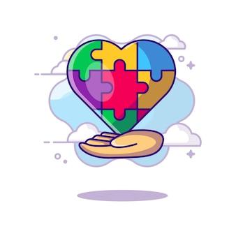 Día mundial del autismo con dibujos animados de realeza de mano y corazón. concepto del día del autismo. estilo de dibujos animados plana.