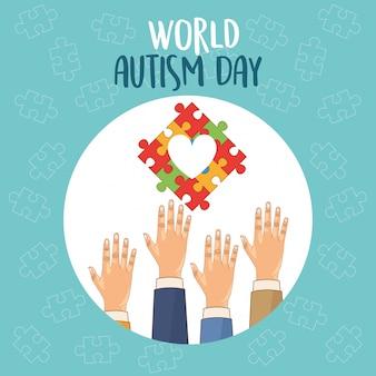 Día mundial del autismo con manos y corazón de rompecabezas