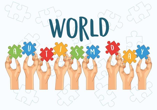 Día mundial del autismo con manos jugando rompecabezas