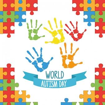 Día mundial del autismo con manos pintadas y piezas de rompecabezas.