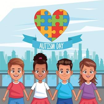 Día mundial del autismo con niños y piezas de rompecabezas, diseño de ilustraciones vectoriales