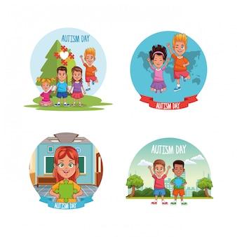 Día mundial del autismo con niños y piezas de rompecabezas.