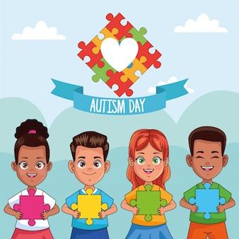 Día mundial del autismo niños con rompecabezas del corazón