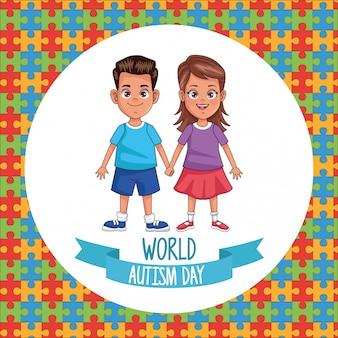 Día mundial del autismo, pareja de niños con piezas de rompecabezas, diseño de ilustraciones vectoriales
