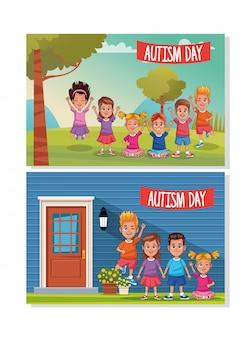 Día mundial del autismo con personajes infantiles