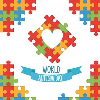 Día mundial del autismo con rompecabezas del corazón
