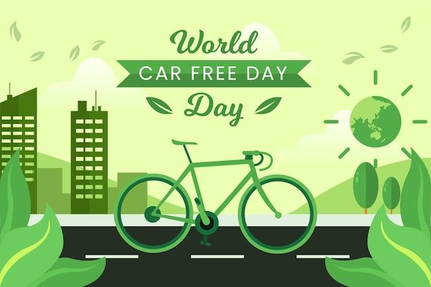 Día mundial sin automóviles con bicicleta